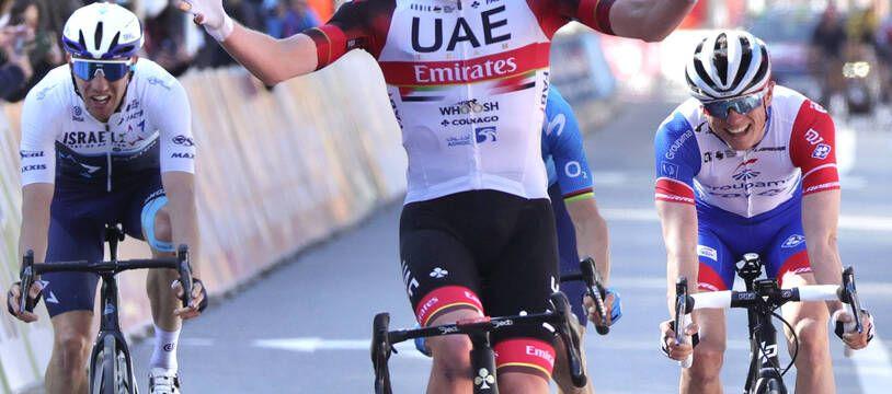 Tadej Pogacar, vainqueur au sprint de l'édition 2021 de Liège-Bastogne-Liège.