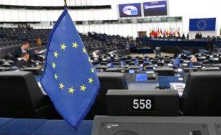Illustration d'un drapeau européen au Parlement européen, le 17 septembre 2019 à Strasbourg