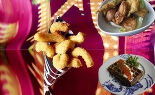 Les churros salés de Fauchon, la gaufre aux oeufs de saumon de Prunier et les chichis de légumes du Makassar