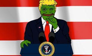 Un mème de Donald Trump sous les traits de Pepe la grenouille, emblème du mouvement alt-right.