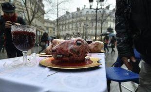Des têtes de moutons exposées lors d'un rassemblement de militants de la cause vegan, le 30 janvier 2016 à Paris