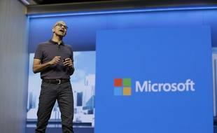 Le directeur général de Microsoft, Satya Nadella, à la conférence Build, le 30 mars 2016.