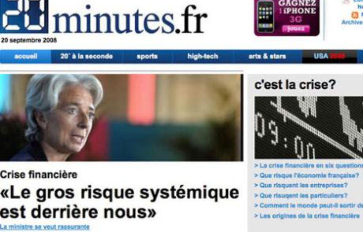 Capture d'écran du site de 20 Minutes le 20 septembre 2008. – André Gunthert