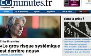 Capture d'écran du site de 20 Minutes le 20 septembre 2008.