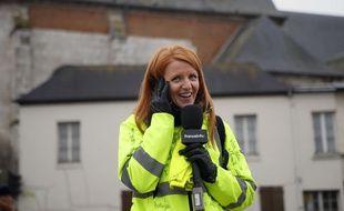 """Ingrid Levavasseur, """"gilet jaune"""" de la première heure, le 15 janvier 2019 à Grande-Bourgtheroulde."""
