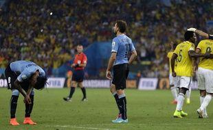 L'Uruguay s'incline face à la Colombie en huitièmes de finale de la Coupe du monde, à Rio, le 28 juin 2014.