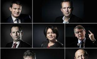 Les candidats à la primaire organisée en janvier 2017 par le PS : Manuel Valls, François de Rugy, Benoît Hamon, Sylvia Pinel, Vincent Peillon, Arnaud Montebourg et Jean-Luc Bennahmias.