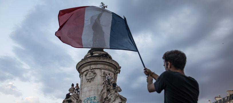 Illustration des festivités lors de la victoire de l'équipe de France au Mondial 2018. Ici, à Paris.
