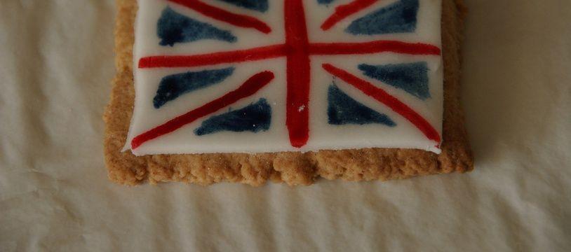 Un biscuit aux couleurs du drapeau du Royaume-Uni.