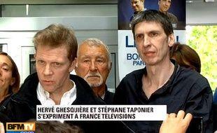 Capture d'écran du discours, retransmis sur BFM TV, d'Hervé Ghesquière et Stéphane Taponier devant les salariés de France Télévisions.