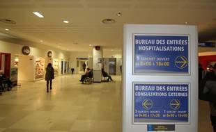 Le hall d'accueil du bloc hôpital du CHU Pontchaillou à Rennes.