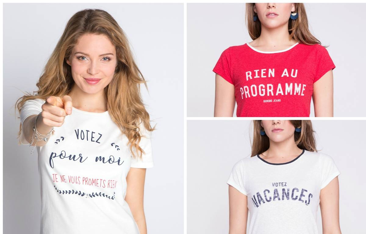 A gauche, tee-shirt Cache-Cache, à droite, tee-shirts Bonobo Jeans. – Cache Cache/Bonobo Jeans