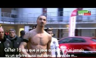 Zlatan Ibrahimovic s'en prend à l'arbitrage de M.Jaffredo.