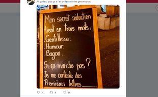 La photo de la pancarte du restaurateur de Rueil-Malmaison accusé de sexisme et de banaliser le viol.