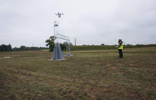 Démonstration d'atterrissage de précision pour un drone de livraison, le 8 octobre 2018 au château de France (Gironde).
