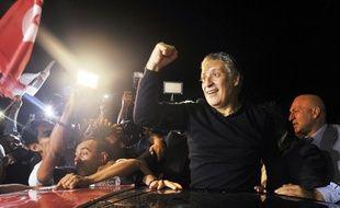 Le candidat à la présidentielle tunisienne Nabil Karoui a été acclamé après sa libération le 9 octobre 2019.