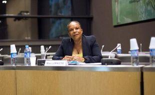 La ministre de la Justice Christiane Taubira, le 16 juillet 2013 juste avant le début de son audition par la commission parlementaire Cahuzac