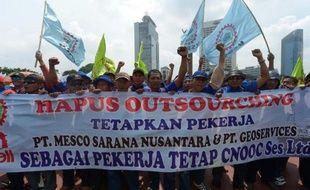 Manifestation de salariés indonésiens, le 10 décembre 2014 à Jakarta