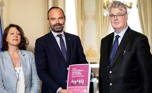Agnès Buzyn, Edouard Philippe et Jean-Paul Delevoye.