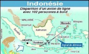 L'avion de la compagnie aérienne indonésienne Adam Air, porté disparu avec 102 personnes à bord, était parti lundi à 12H59 (05H59 GMT) de Surabaya (Java) à destination de Manado (île de Célèbes), où il n'est jamais arrivé.
