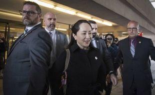 Meng Wanzhou lors de sa sortie du tribunal à Vancouver.