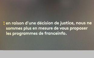 Capture d'écran d'un tweet montrant le message qui apparaîtrait à l'écran si la chaîne d'info du service public arrêtait d'émettre.