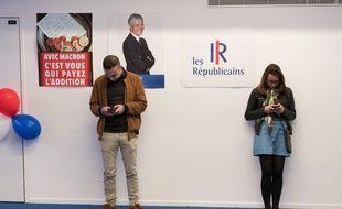 Des militants Républicains lors d'un discours de Laurent Wauquiez, le 26 mai 2019.