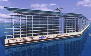 Image de synthèse du projet de ville flottante «Freedom Ship».