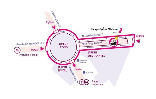Le périmètre du défilé du carnaval de Toulouse.