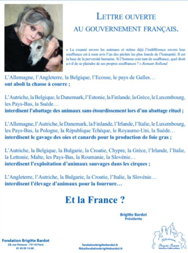 La lettre ouverte de Brigitte Bardot au gouvernement français publiée dans «Le Parisien» du 27 décembre 2017.