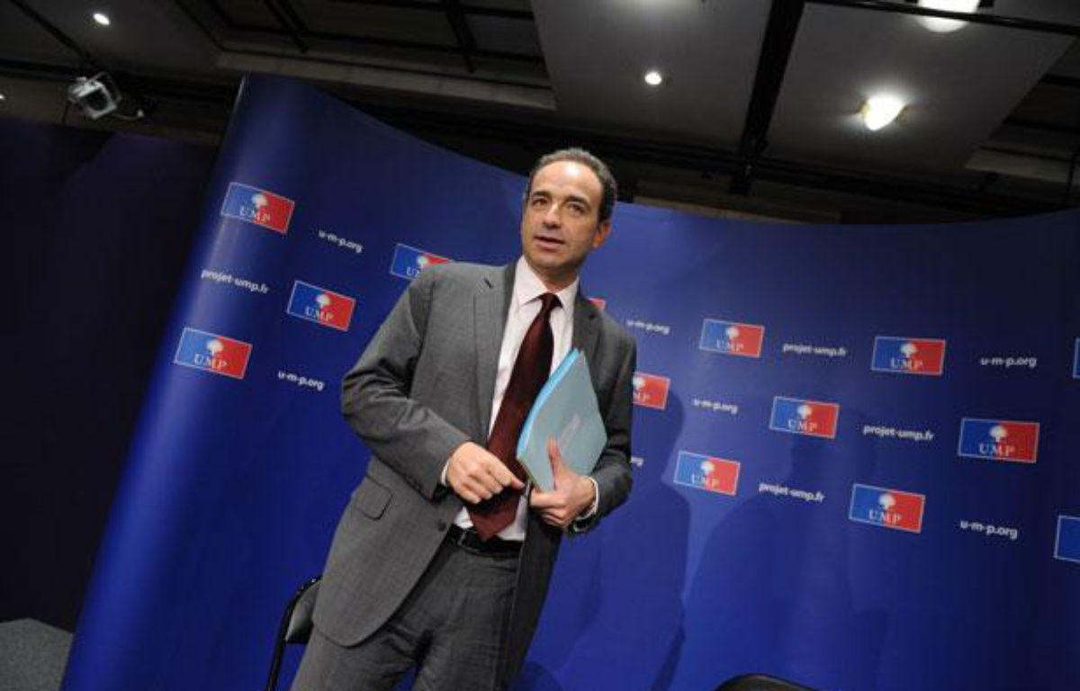 Jean-François Copé, secrétaire général de l'UMP, lors d'une conférence de presse, le 30 mars 2011. – WITT/SIPA