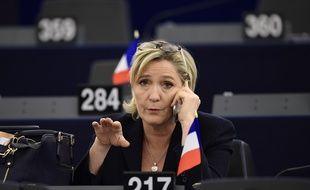 La candidate du Front national à l'élection présidentielle au Parlement européen à Strasbourg, le 17 janvier 2017.