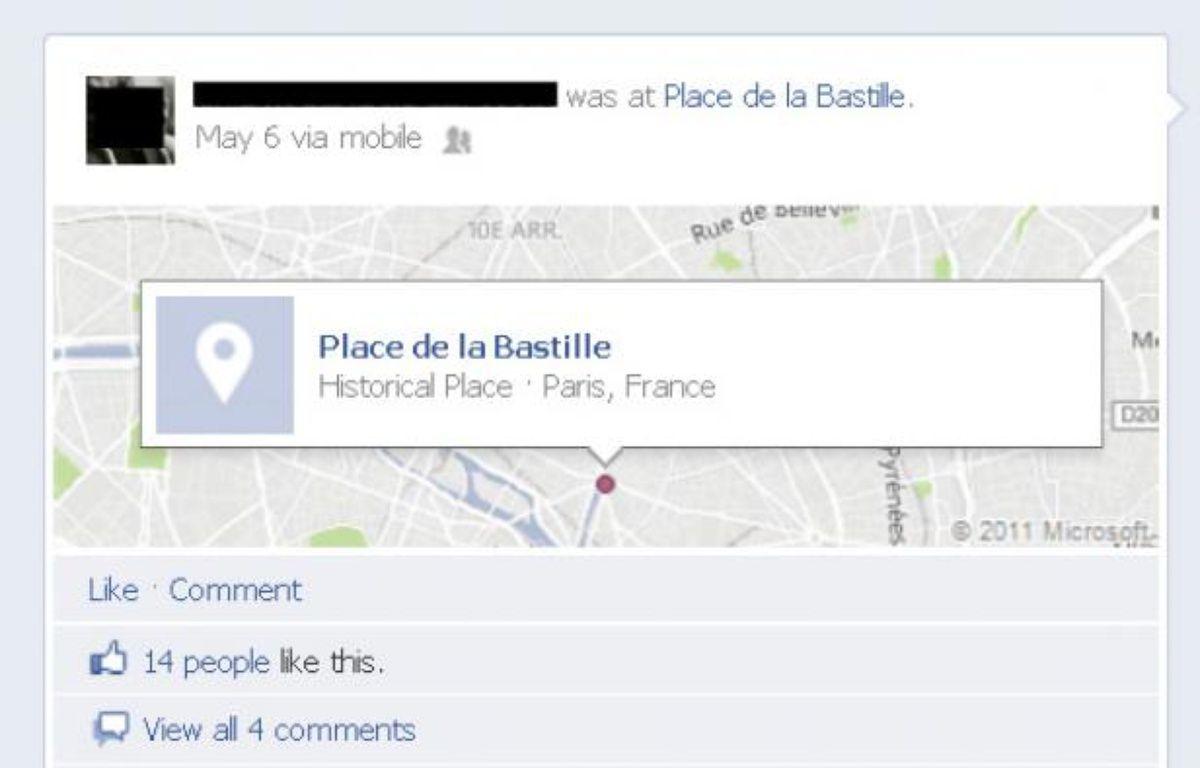 Un utilisateur de Facebook utilise le «check-in» le 6 mai 2012, après l'annonce des résultats. – Capture Facebook