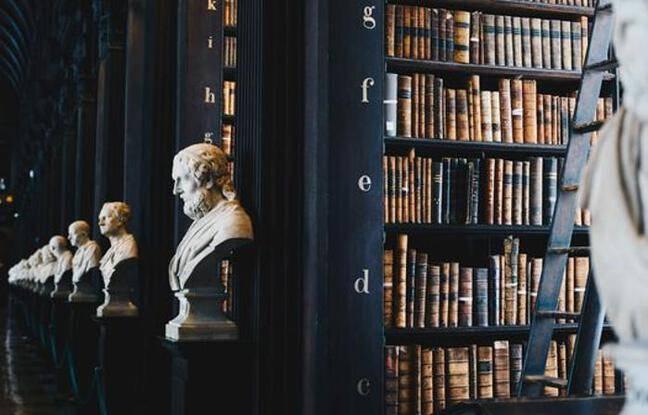 Livres et statues de grands penseurs