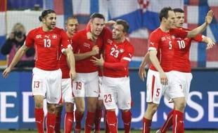 L'équipe de Suisse face à la Croatie, le 5 mars 2014.