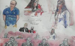 Croquis de justice du procès d'assises Troadec-Caouissin.