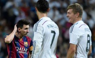 L'Argentin du FC Barcelone Lionel Messi contre le Real Madrid, le 25 octobre 2014.