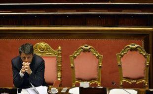 Le Premier ministre italien Matteo Renzi au Sénat à Rome, le 22 avril 2015