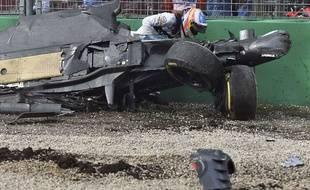 Fernando Alonso après son crash en Australie le 20 mars 2016.