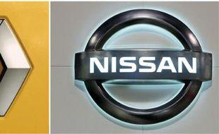 Un montage photo, réalisé le 6 avril 2010, montre les logos de Renault (g) et de Nissan