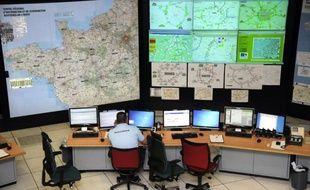 La salle opérationnelle du Centre Régional d'Information et de Coordination Routières (CRICR) de l'Ouest
