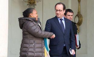 François Hollande,  Christiane Taubira et Manuel Valls le 11 mars 2016 à l'Elysée.