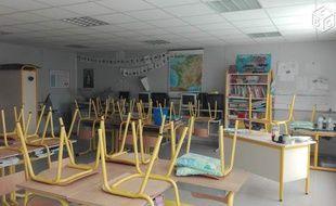 Une des deux salles de classe de l'école de Roquefort.