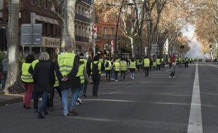 """Le cortège des """"gilets jaunes"""" samedi 1er décembre à Toulouse"""