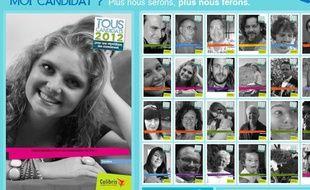 """Capture d'écran du site de la campagne """"Tous candidats en 2012""""."""