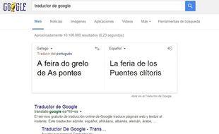 Capture d'écran de Google Translate.