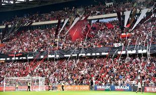 Les supporters de Nice à l'occasion du tour préliminaire de la Ligue des champions contre l'Ajax, le 26 juillet 2017.