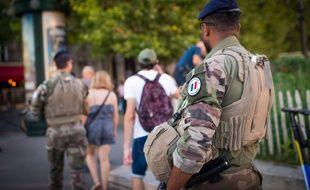 Un militaire de l'opération Sentinelle, le 25 août 2019, à Paris.