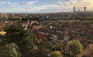 La ville de Lyon, vue depuis la colline de Fourvière.