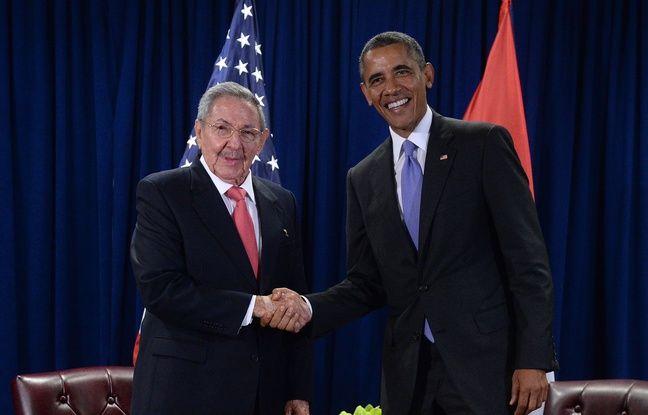 Barack Obama et Raul Castro à New York, le 29 septembre 2015.Credit:Anthony Behar/AdMedia/SIPA